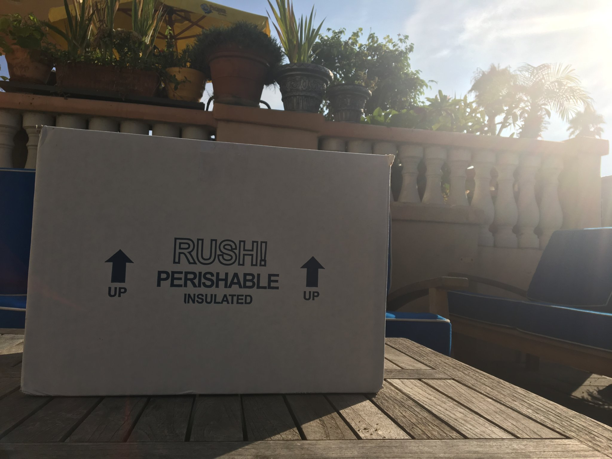 A delivery box sitting out in the sun
