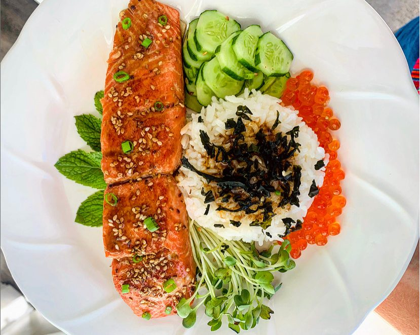 Teriyaki Salmon Ikura Don