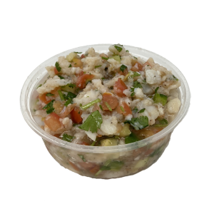 Container of fish ceviche