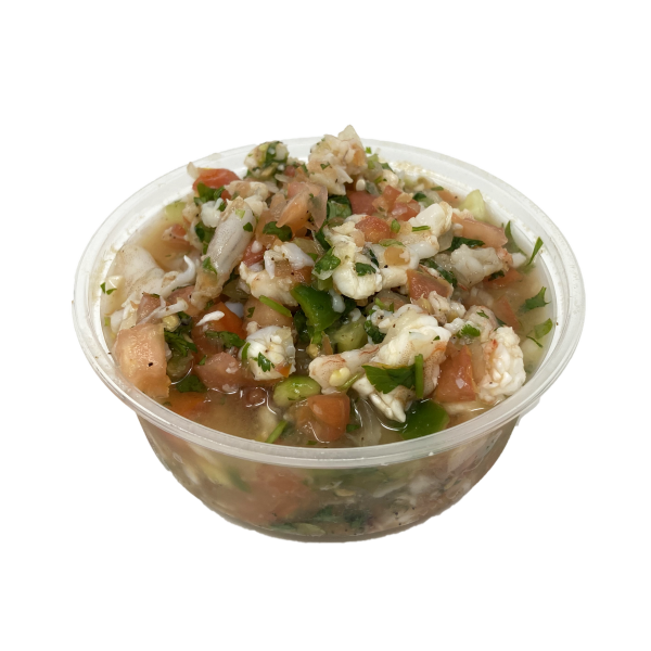 Container of shrimp ceviche