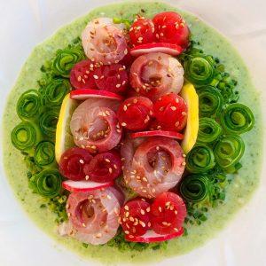 Bowl of Kampachi in Green Sauce
